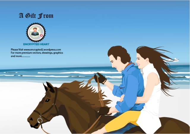 Couple at Beach - vector graphics